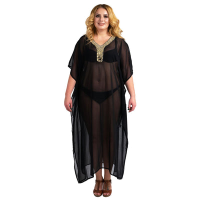 Kaftan Hand Embroidered Caftans Kimono Summer Maxi Dress 140-Black