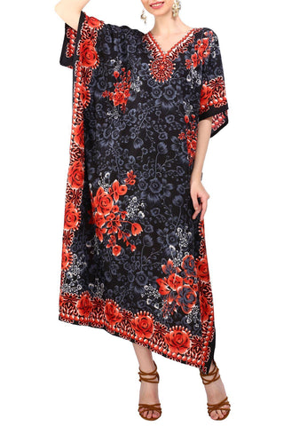 Kaftan Tunic Kimono Long Evening Maxi Dress Black