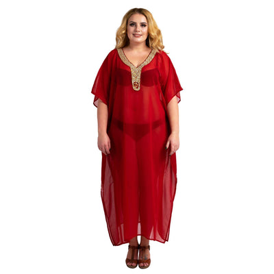 Kaftan Hand Embroidered Caftans Kimono Summer Maxi Dress 140-Red