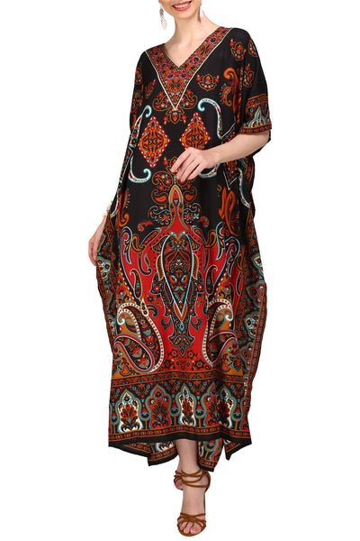 Kaftan Tunic Kimono Dress Ladies Maxi Caftans Black