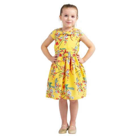 Girls Kids Vintage Style Peter Pan Collar Dresses Bird Yellow Age 3 – 12 Years