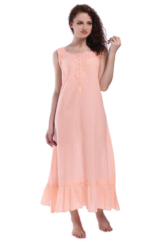 Victorian Style Nightgown Long Vintage Nightdress Peach