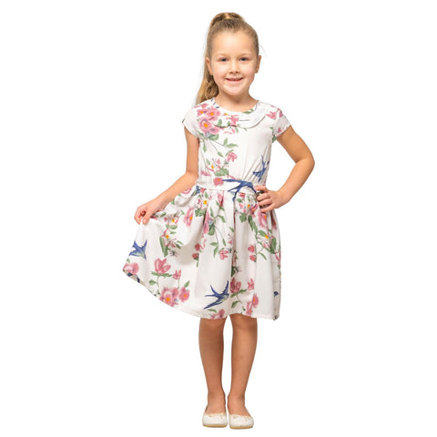 Girls Kids Vintage Style Peter Pan Collar Dresses Floral White Age 3 – 12 Years