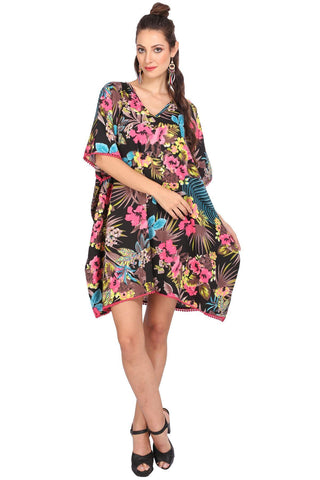 Women's Kaftan Tunic Top Kimono Evening Top One Size Black