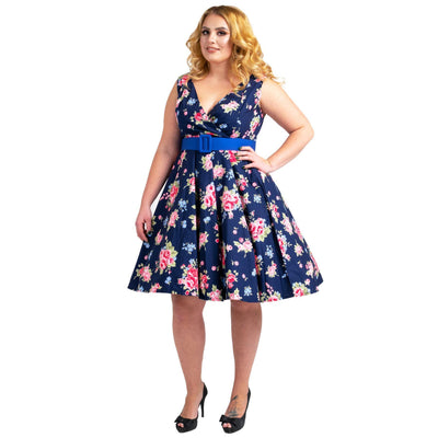 Floral Bridesmaid Dresses 1940's Rockabilly Plus Size Braid Style Navy