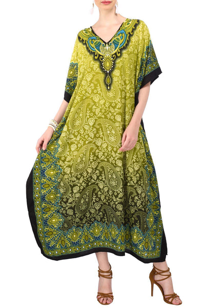 Kaftan Tunic Kimono Dress Ladies Maxi Caftans Green