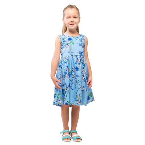 Girls Kids Vintage Audrey Hepburn Style sizes Bird Blue Age 3 – 12 Years