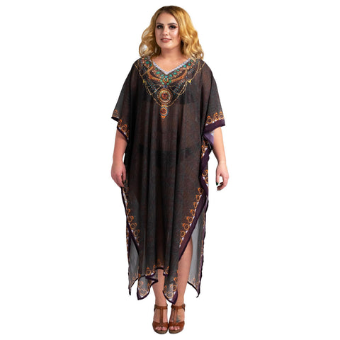 Stonework and Hand Embroidered Kaftans Brown