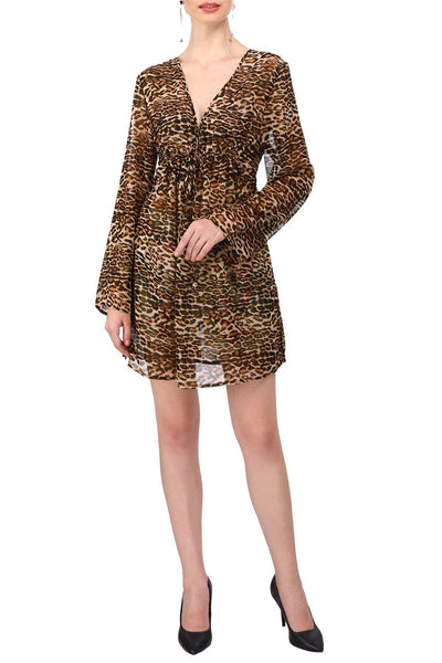 Women's Tie Waist Kaftan Kimono Beach Leopard Tunic Top Dress