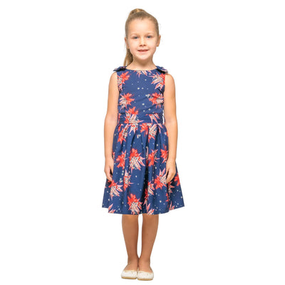 Girls Kids Vintage Style Shoulder Bow Dresses sizes from Butterfly Navy Age 3 – 12 Years