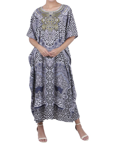 Women's Black Kaftan Tunic Kimono Long Caftan Embellished Maxi Dress, 3 Sizes