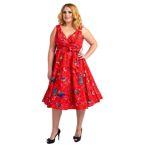 Women's Fashion Clothing Retro Galaxy Rockabilly Vintage Dresses Red