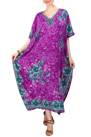 Kaftan Tunic Kimono Long Evening Maxi Dress Purple