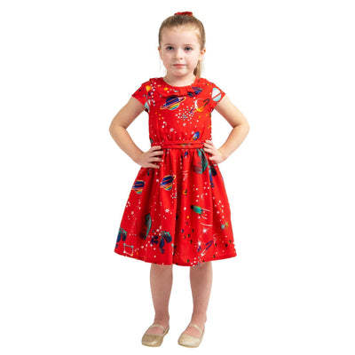 Girls Kids Vintage Style Peter Pan Collar Dresses Galaxy Red Age 3 – 12 Years