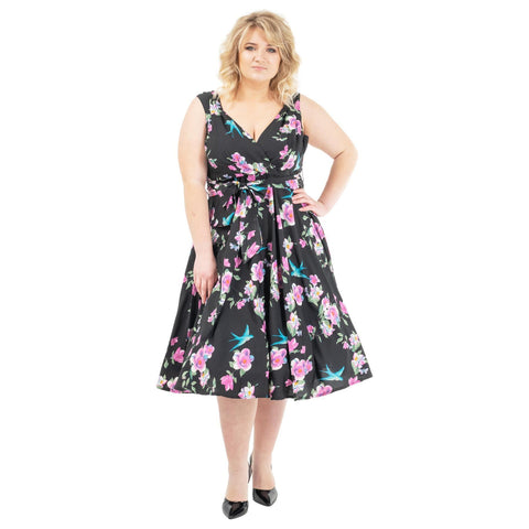 Women's Fashion Clothing Retro Floral Rockabilly Vintage Dresses Black