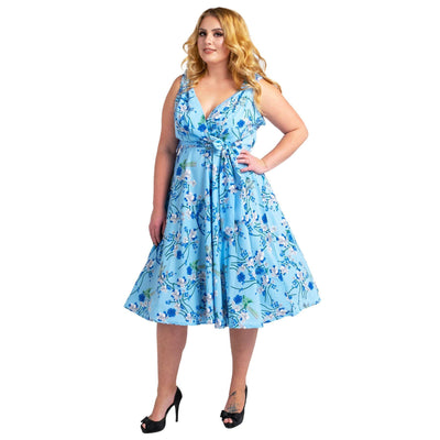 Women's Fashion Clothing Retro Bird Rockabilly Vintage Dresses Blue
