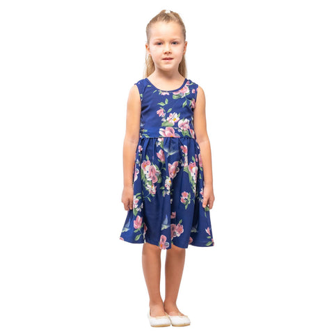 Girls Kids Vintage Audrey Hepburn Style sizes Floral Navy Age 3 – 12 Years