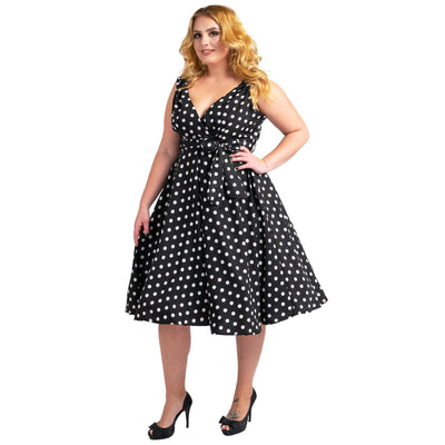 Womens Polka Dot 40s 50s Vintage Dresses Black, Available 5 Sizes