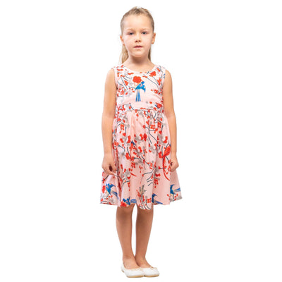 Girls Kids Vintage Audrey Hepburn Style sizes Bird Pink Age 3 – 12 Years