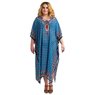 Stonework and Hand Embroidered Kaftans Turquoise