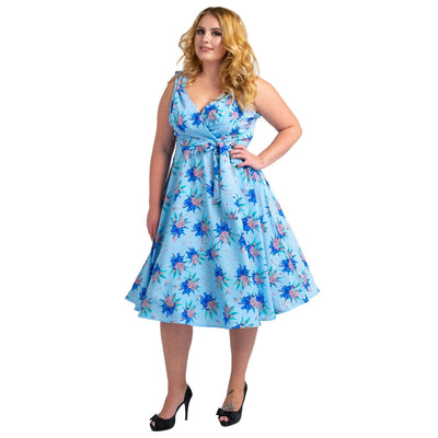 Women's Fashion Clothing Retro Butterfly Rockabilly Vintage Dresses Blue