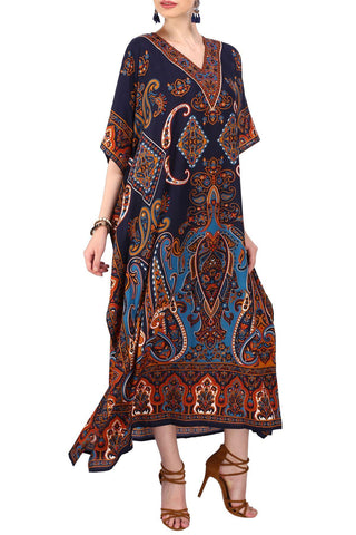 Kaftan Tunic Kimono Long Evening Maxi Style Dress Blue