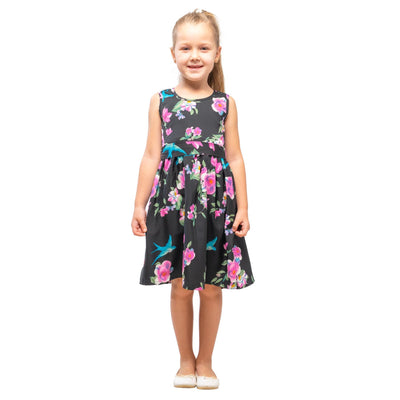 Girls Kids Vintage Audrey Hepburn Style sizes Floral Black Age 3 – 12 Years