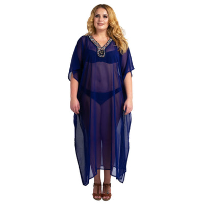 Kaftan Hand Embroidered Caftans Kimono Summer Maxi Dress 139-Navy