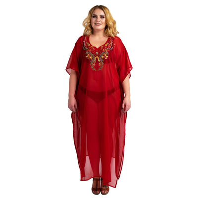 Kaftan Hand Embroidered Caftans Kimono Summer Maxi Dress 141-Red