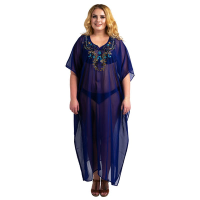 Kaftan Hand Embroidered Caftans Kimono Summer Maxi Dress 141-Navy