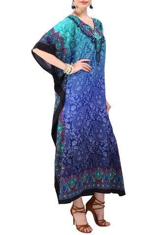 Kaftan Tunic Kimono Dress Ladies Maxi Caftans Blue