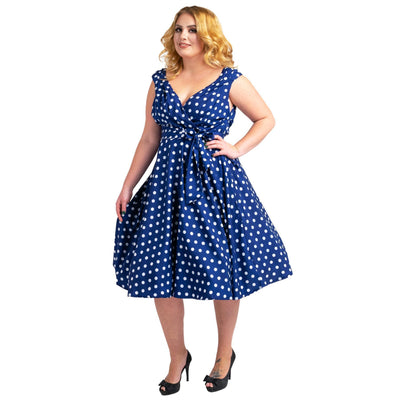 Womens Polka Dot 40s 50s Vintage Dresses Navy, Available 5 Sizes