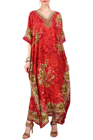 Kaftan Tunic Kimono Long Evening Maxi Dress Red