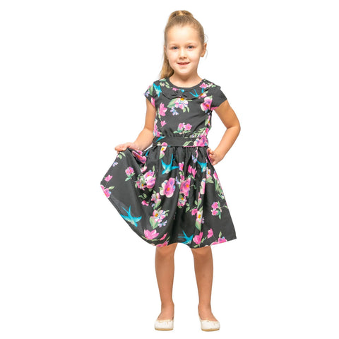 Girls Kids Vintage Style Peter Pan Collar Dresses Floral Black Age 3 – 12 Years