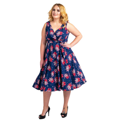 Women's Fashion Clothing Retro Butterfly Rockabilly Vintage Dresses Navy