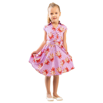 Girls Kids Vintage Style Collared Button down Dresses Butterfly Purple Age 3 – 12 Years
