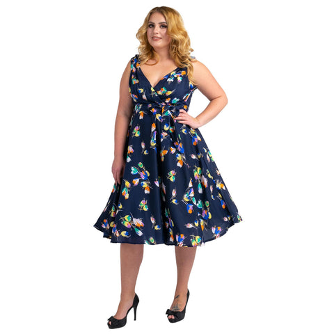 Womens Floral 40s 50s Vintage Dresses Navy, Available 5 Sizes