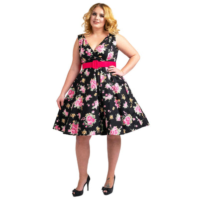 Floral Bridesmaid Dresses 1940's Rockabilly Plus Size Braid Style Black