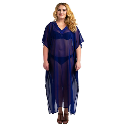 Kaftan Hand Embroidered Caftans Kimono Summer Maxi Dress 138-Navy