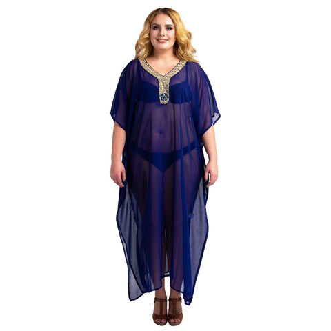 Kaftan Hand Embroidered Caftans Kimono Summer Maxi Dress 140-Navy