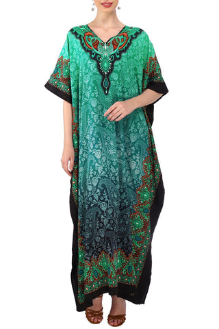 Women's Kaftan Tunic Kimono Long Evening Maxi Style Dress Teal