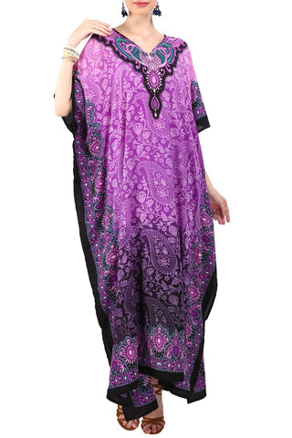 Kaftan Tunic Kimono Dress Ladies Maxi Caftans Purple
