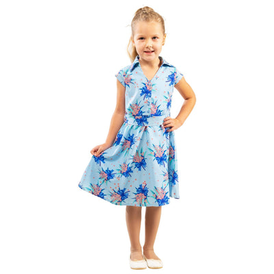 Girls Kids Vintage Style Collared Button down Dresses Butterfly Blue Age 3 – 12 Years