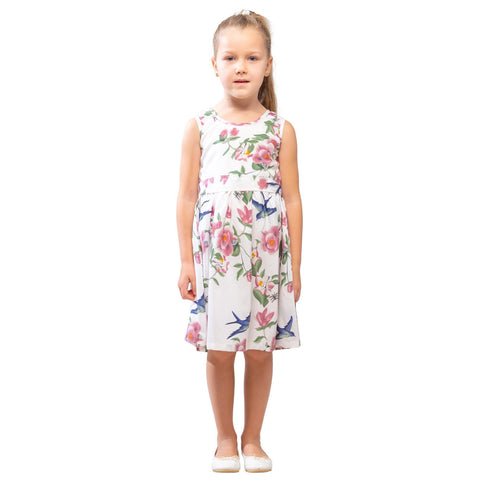 Girls Kids Vintage Audrey Hepburn Style sizes Floral White Age 3 – 12 Years