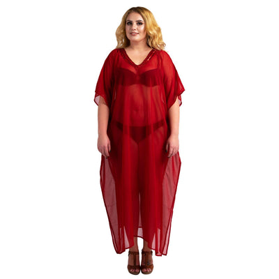 Kaftan Hand Embroidered Caftans Kimono Summer Maxi Dress 138-Red