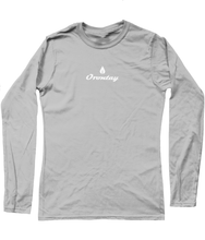 Load image into Gallery viewer, Womens grey Orontay series 2 vegan sportswear long sleeve top with Orontay duo logo