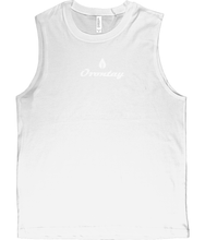 Load image into Gallery viewer, Mens white Orontay series 2 vegan sportswear tank top with Orontay duo logo