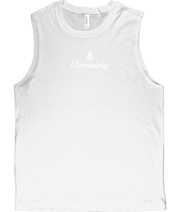 Mens white Orontay series 2 vegan sportswear tank top with Orontay duo logo