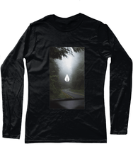 Load image into Gallery viewer, Womens black Orontay series 2 vegan sportswear long sleeve top with forest image