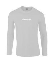 Load image into Gallery viewer, Mens light grey Orontay series 2 vegan sportswear long sleeve top with Orontay text logo